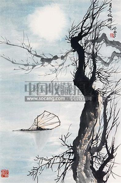 月是故乡明 立轴 设色纸本 - 129692 - 中国书画 - 2010春季艺术品拍卖会 -收藏网