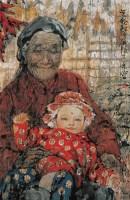 天伦情 镜心 设色纸本 - 梁岩 - 中国书画 - 抱趣堂景安2008迎春拍卖会 -收藏网