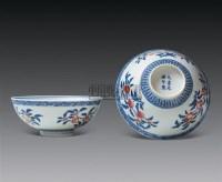 青花加粉彩三多纹碗 (一对) -  - 中国瓷器 杂项 玉器 - 2008秋季拍卖会 -收藏网