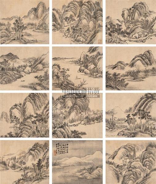仿古山水册页 册页 (十二开) 水墨绢本 - 5289 - 中国古代书画册页 - 2006秋季艺术品拍卖会 -收藏网