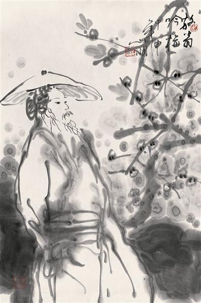 吴山明 2004年作 放翁吟梅 镜心 水墨纸本 - 114688 - 中国书画(一) - 2006秋季艺术品拍卖会 -收藏网
