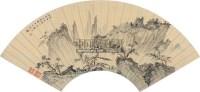 策杖访友图 成扇 金笺设色纸本 - 5014 - 小品专场 - 首届艺术品拍卖会 -收藏网