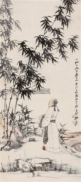 子猷赏竹图 镜心 设色纸本 - 116070 - 中国书画专场 - 首届艺术品拍卖会 -收藏网