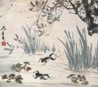 张聿光 蛙鸣图 立轴 设色纸本 - 6986 - 中国书画 - 2006年秋季拍卖会 -收藏网