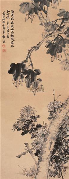 梧桐菊花 立轴 设色纸本 - 4786 - 中国书画(一) - 2006年秋季拍卖会 -中国收藏网