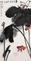 荷花鱼戏 立轴 设色纸本 - 黄独峰 - 岭南名家书画 - 2006广州冬季拍卖会 -中国收藏网