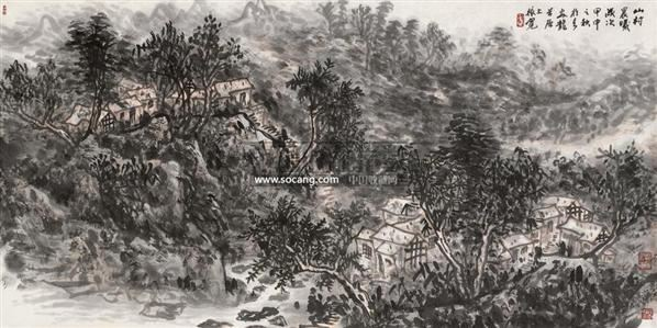 山村晨曦 镜片 纸本 - 114802 - 中国书画 - 2011年春季拍卖会 -收藏网