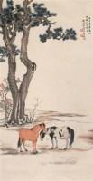 松下双骏图 立轴 设色纸本 - 4764 - 书画杂件 - 2007迎春文物艺术品拍卖会 -中国收藏网