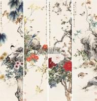花鸟 四条屏 设色纸本 - 148782 - 中国书画一 - 2011春季书画大型拍卖会 -收藏网