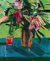 闫平 百合花 布面油画 - 140643 - 中国油画 - 2006秋季艺术品拍卖会 -收藏网