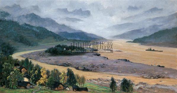 记忆中的三峡 布面油画 - 140897 - 中国油画 - 2005秋季大型艺术品拍卖会 -收藏网