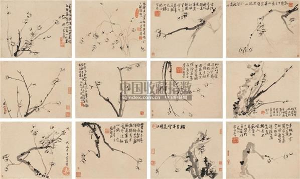 墨梅册页 册页 (十二开) 水墨纸本 - 116888 - 中国古代书画册页 - 2006秋季艺术品拍卖会 -收藏网