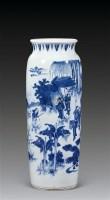 明崇祯 青花人物筒瓶 -  - 古董文玩 - 第68期拍卖会 -收藏网