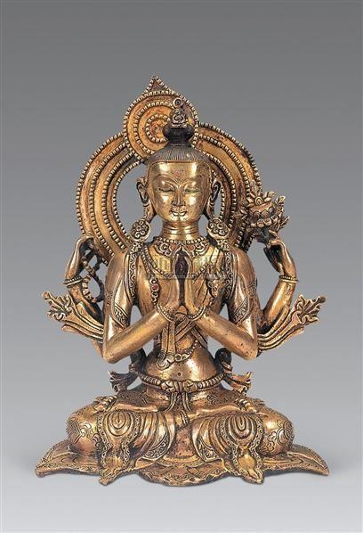 明 铜鎏金四臂观音像 -  - 妙音天籁-佛教艺术品 - 2006年秋(十周年)拍卖会 -收藏网