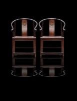 红木圈椅一对 -  - 古典家具专场 - 中矿拍卖有限公司春季艺术品拍卖会 -收藏网