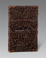檀香木雕楼台人物小方盒 -  - 古董文玩专场 - 第71期艺术品拍卖会 -收藏网