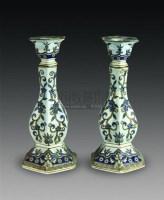 蓝料彩六棱花口烛台一对 -  - 中国瓷杂 - 2010迎春艺术品拍卖会 -中国收藏网