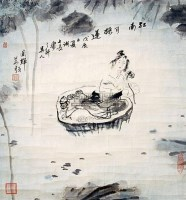 採莲 镜片 纸本 - 刘国辉 - 中国书画 华人西画 - 2011年新加坡春季艺术珍品拍卖会 -收藏网