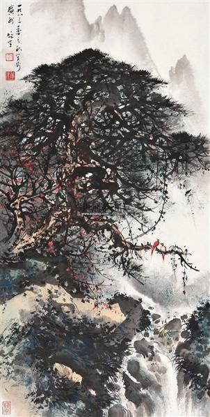 松林叠翠 立轴 纸本设色 - 4438 - 中国书画(一) - 2011春季艺术品拍卖会 -收藏网