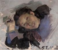 吴大羽 1957年作 女肖像习作 纸板 油画 - 140765 - 中国当代油画 - 2006首届中国国际艺术品投资与收藏博览会暨专场拍卖会 -收藏网