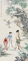 貂蝉拜月图 立轴 设色纸本 - 125768 - 中国书画专场 - 2008首届秋季大型古玩书画拍卖会 -收藏网