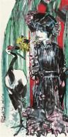 仕女观鹤 立轴 设色纸本 - 3950 - 岭南名家书画 - 2011秋季艺术品拍卖会 -收藏网