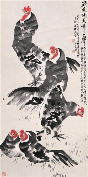 公鸡 立轴 设色纸本 - 140482 - 中国书画 - 2005首届书画拍卖会 -收藏网