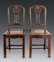 如意靠背椅 (一对) -  - 明清古典家具 - 2006年秋季大型明清古典家具专场拍卖会 -中国收藏网