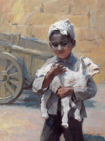 张自嶷 2005年作 男孩与羊 油画 -  - 油画专场 - 2006首届艺术品拍卖会 -收藏网