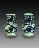 青花象耳尊一对 -  - 中国瓷杂 - 2010迎春艺术品拍卖会 -收藏网