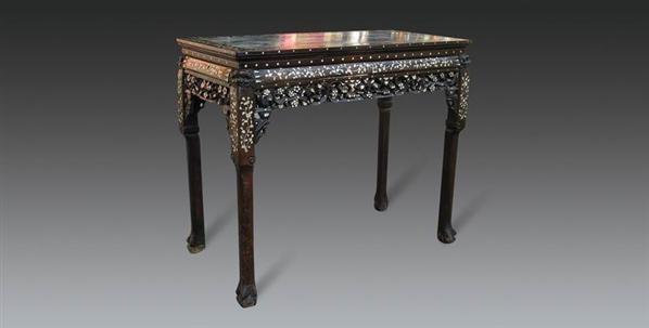 红木云石面镶螺钿供桌 - - 明清古典家具专场 - 明清古典家具专场拍卖