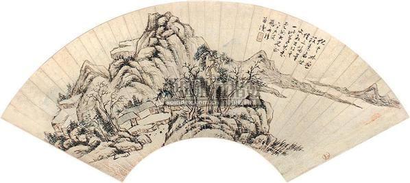 山水 扇面 设色金笺纸本 - 11672 - 中国书画 - 2007秋季艺术品拍卖会 -收藏网
