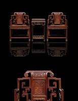 红木盖帽太师椅一对及茶几 -  - 古典家具专场 - 中矿拍卖有限公司春季艺术品拍卖会 -收藏网