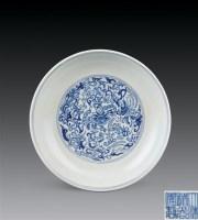 清道光 青花凤穿花纹盘 -  - 瓷杂专场 - 2006年秋季拍卖会 -中国收藏网