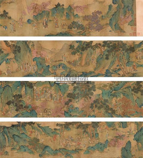 青绿山水群仙图 手卷 设色绢本 - 117000 - 中国近现代书画 - 2011图片