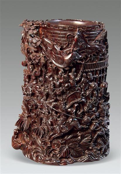 紫檀木雕笔筒 - - 木雕古风---木雕工艺大师作品专场