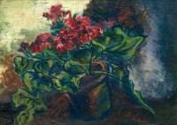 仙客来(兔子花盆景) 板面油画 - 116759 - 油画专场 - 2011首届秋季艺术品拍卖会 -收藏网