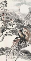 徐培晨 猿啸 立轴 设色纸本 - 徐培晨 - 中国书画 - 2006首届慈善拍卖会 -收藏网