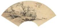 溪岸泊舟 扇面 纸本设色 - 祁昆 - 中国书画 - 2006春季拍卖会 -收藏网