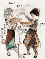 泼水节 立轴 设色纸本 - 程十发 - 中国近现代书画 - 2011秋季拍卖会 -中国收藏网