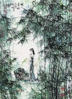 佳人清韵 立轴 设色纸本 - 吴泽浩 - 中国书画 - 2008第二季艺术品拍卖会 -收藏网