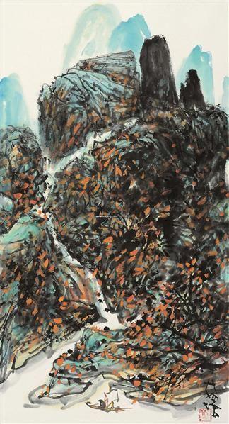 高山流水 立轴 设色纸本 - 3950 - 岭南名家书画 - 2011秋季艺术品拍卖会 -收藏网