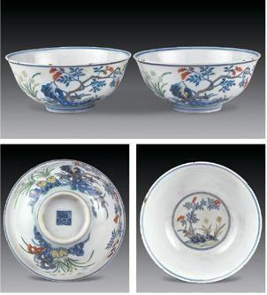 斗彩花卉纹碗 (一对) -  - 瓷器 玉石 - 2007春季艺术品拍卖会 -收藏网