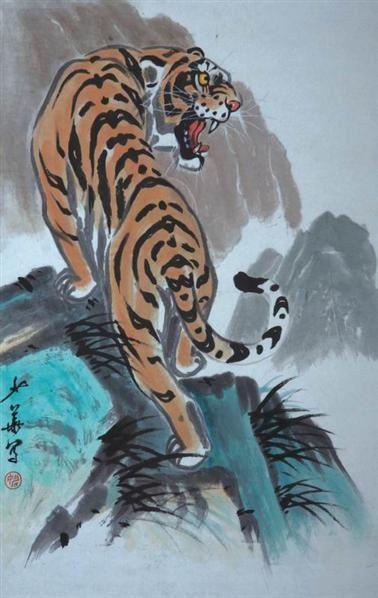 壁纸 动物 国画 虎 老虎 桌面 378_598 竖版 竖屏 手机
