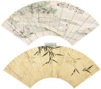 高士图 竹雀图 镜心 设色纸本 -  - 中国近现代书画 - 2011秋季拍卖会 -收藏网