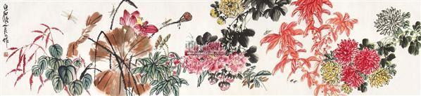 花卉草虫 立轴 设色纸本 - 147731 - 中国书画(一) - 五周年秋季拍卖会 -收藏网