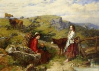 两位少女与小孩的风景画 油彩 画布 装框 -  - 当代美术 西洋美术 - 2011秋季伊斯特香港拍卖会 -收藏网