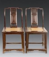 黄花梨靠背椅 (一对) -  - 明清古典家具 - 2006年秋季大型明清古典家具专场拍卖会 -收藏网