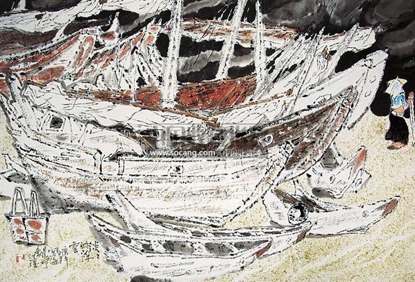 淡淡的浮云 镜心 设色纸本 - 133499 - 中国油画 闽籍书画 中国书画 - 2008秋季艺术品拍卖会 -收藏网