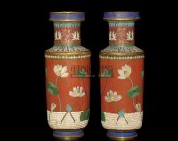 A PAIR OF CLOISONNE ENAMELLED ROULEAU VASES,19TH CENTURY -  - 中国进出口瓷器 - 2009秋季拍卖会(二) -收藏网